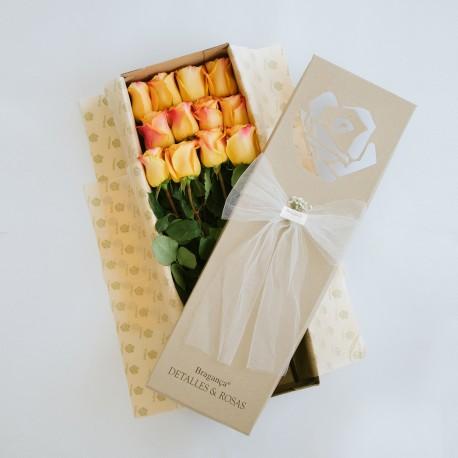 Caja Braganca Kraft x 12 rosas