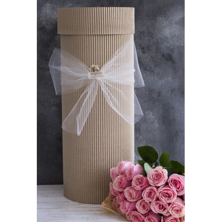 Caja Cilíndrica x 18 rosas